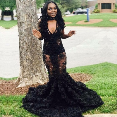 Sexy Black See-through Beaded Prom Dresses Online   Lace Mermaid Flowers Sexy Evening Gown BA8552_3