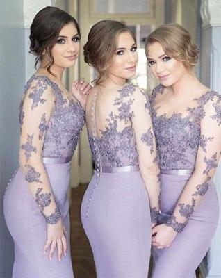 Long-Sleeve Lavender Lace Appliques Buttons Illusion Mermaid Popular Bridesmaid Dress_2