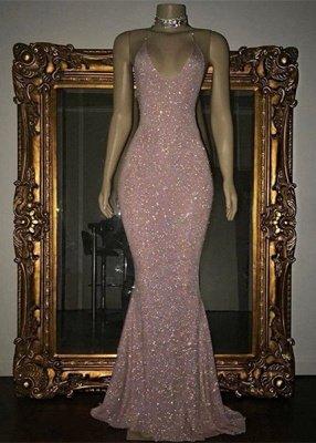 Vestido largo de fista | Impresionante con lentejuelas sirena correa de espagueti_1