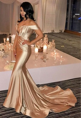 Off The Shoulder Champagne Gold Sexy Prom Dresses Mermaid Lates Popular Evening Gown FB0183_1