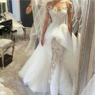 Wholesale Fit and Flare Tulle Lace Wedding Dresses | Short Sleeves Court Train Bridal Gown_3