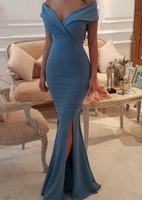 Elegant Off-the-Shoulder Slit Mermaid Buttons Evening Dress Long On Sale BA7331_1