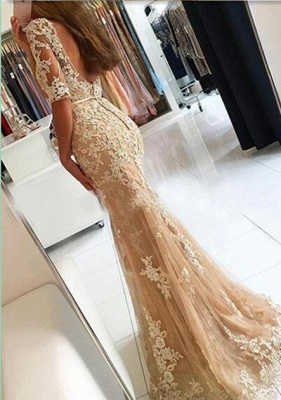 Champagne half-Long-Sleeves Open-Back Lace Mermaid Prom Dresses_2