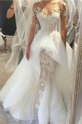 Wholesale Fit and Flare Tulle Lace Wedding Dresses | Short Sleeves Court Train Bridal Gown_1