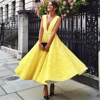 Sexy Gelbe Abendkleider Tief V-Ausschnitt   Schlichte Abendkelider A-Linie_3