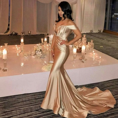 Off The Shoulder Champagne Gold Sexy Prom Dresses Mermaid Lates Popular Evening Gown FB0183_4