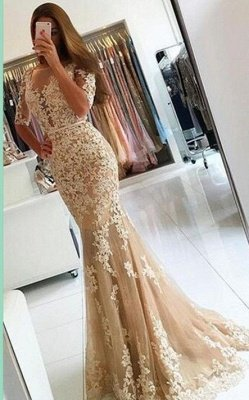 Robes de bal demoiselle d'honneur champagne demi-longues en dentelle dos-ouvert_1