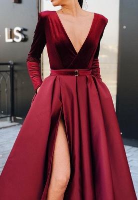 Popular Deep V Neck Long Sleeves Floor-Length Evening Dress   2021 Burgundy Front Split Prom Gown BC0785_2