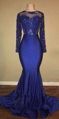 Robes de bal sexy modèle dos royal bleu royal | Robe de soirée sirène en dentelle à manches longues BA7863_3