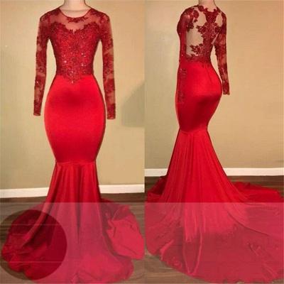 Кружевные платья для выпускного с длинными рукавами Mermaid | Red Sheer Тюль Дешевое Вечернее Платье FB0283_3