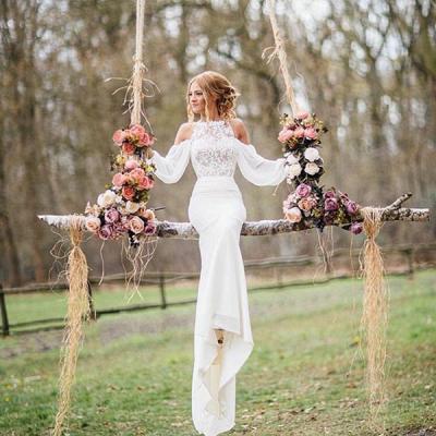 Elegant Lace Long-Sleeves Mermaid Chiffon Wedding Dress_2