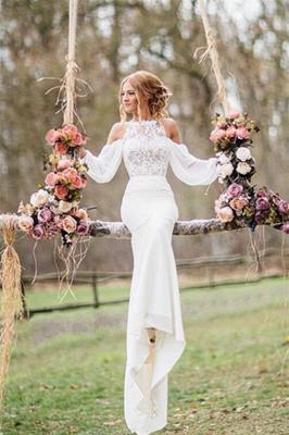 Elegant Lace Long-Sleeves Mermaid Chiffon Wedding Dress_1