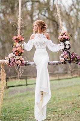 Elegant Lace Long-Sleeves Mermaid Chiffon Wedding Dress