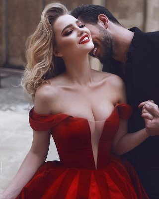 Glamorous Off-the-Shoulder Evening Dress | Red Long Prom Dress_4