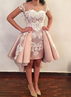 Trendy Jewel Cap-Sleeve Short Pink Cocktail Party Dresses_3