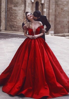 Glamorous Off-the-Shoulder Evening Dress | Red Long Prom Dress_1