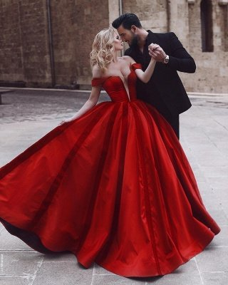 Glamorous Off-the-Shoulder Evening Dress | Red Long Prom Dress_3