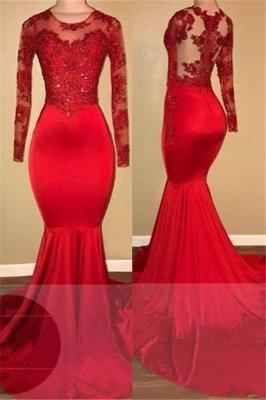 Кружевные платья для выпускного с длинными рукавами Mermaid | Red Sheer Тюль Дешевое Вечернее Платье FB0283_1