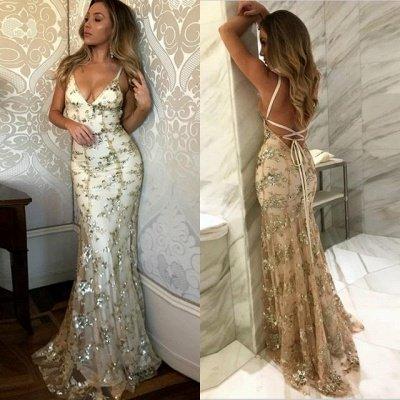 SAGE | Mermaid V-neck Spaghetti Floor-length Crystal Beads Prom Dresses_7