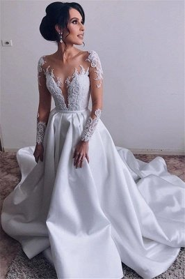 Elegant Satin Long Sleeve Wedding Dresses | Lace Appliques Cheap Wedding Dresses Online