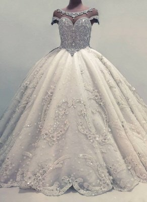 Luxury Ball Gown Wedding Dresses | Shiny Crystals Bridal Gowns with Flowers