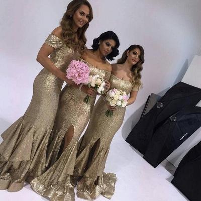 Gorgeous Short-Sleeve Off-the-Shoulder Mermaid Slit Ruffles Bridesmaid Dress_1