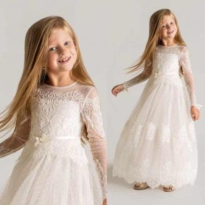 Moderne Tüll A-Linie Blumenmädchen Kleid | Langarm-Festzugkleider für kleine Mädchen_2