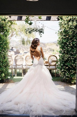 Sexy Mermaid Open Back Wedding Dresses New Lace Bridal Gown with Long Train_1