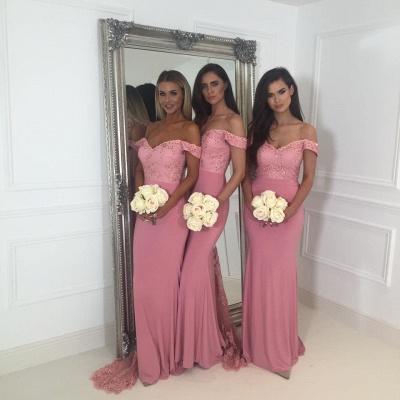 Beads Lace Off The Shoulder Bridesmaid Dress | Open Back Sexy Pink Maid of Honor Dresses BA9882_5