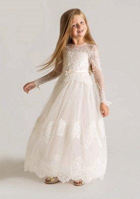 Modern Tulle Lace A-line Flower Girl Dress   Long Sleeve Little Girls Pageant Dresses