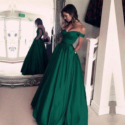 Elegant Off-the-Shoulder Evening Dress | Green Long Prom Dress_4