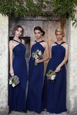 Modern Halter Royal Blue Long Chiffon Wedding Party Bridesmaid Dress_2