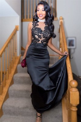 Black Illusion neck Lace Tulle Prom Dress with Crystals | Sexy Beads Evening Dress Online_4