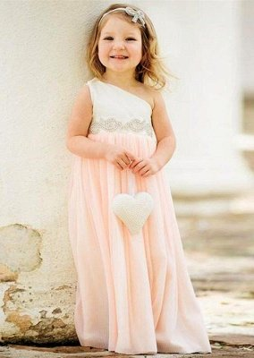 Delicate One Shoulder Chiffon Flower Girl Dress   Little Girls Pageant Dresses with Pearls