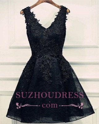 Кружева аппликации дешевое платье возвращения домой Сексуальные маленькие черные платья_1