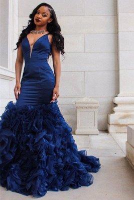 V-Ausschnitt Ballkleid | Rüschen Mermaid Abendkleid BA8435_1