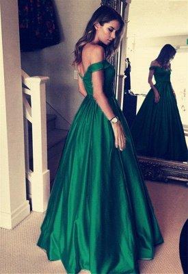 Elegant Off-the-Shoulder Evening Dress | Green Long Prom Dress_3