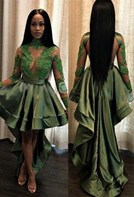 Sexy See Through Lace Long Sleeve Prom Dress | Hi-lo Dark Green Evening Dress_1