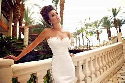 Sweetheart White Lace Wedding Dresses Mermaid Zipper Sleeveless Bridal Dresses_2
