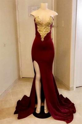 Dames de bal sexy sirène chérie avec split haut | Velvet Gold Appliques robes de soirée à fente latérale_1