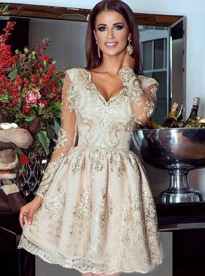 Glamorous Gold  Homecoming Dress | V-Neck Long Sleeves Lace Appliques Short Hoco Dresses_1