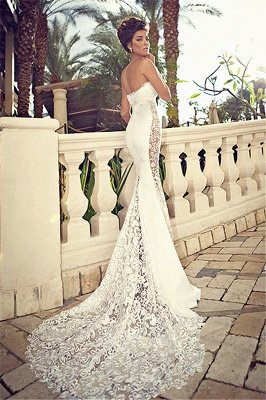 Sweetheart White Lace Wedding Dresses Mermaid Zipper Sleeveless Bridal Dresses_1