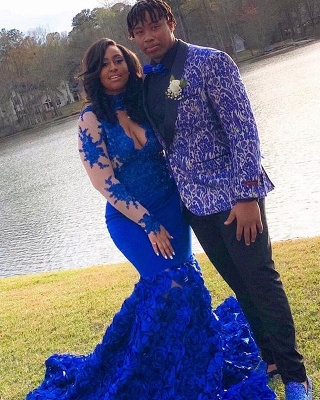 Elegant Long Sleeve Lace Appliques Prom Dress Cheap Online | Fit and Flare Royal Blue Floral Prom Dress with Keyhole_4