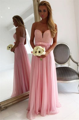 Sweetheart Pink Lace Chiffon Bridesmaid Dresses | Open Back Blowknot Maid Of Honor Dress_1