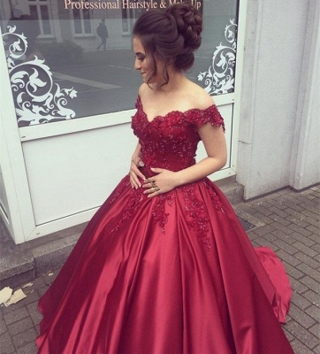Delicate Off-the-shoulder Beading Ball Gown Prom Dress_2