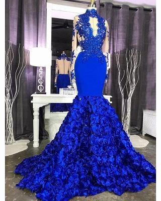 Langarm Spitze Appliques Abendkleid Günstige Online 2021 | Mermaid Royal Blue Floral Abendkleid mit Schlüsselloch_3