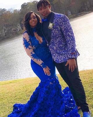 De manga larga de encaje apliques vestido de fiesta barato en línea 2021 | Sirena vestido de fiesta floral azul real con ojo de cerradura_4