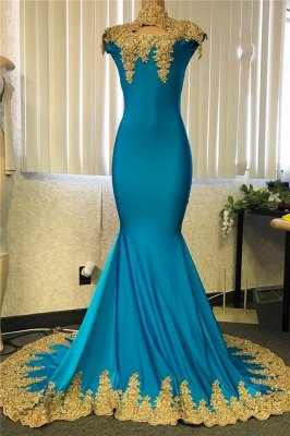 Cheap High Neck Mermaid Gold Lace Prom Dresses with Sexy Keyhole