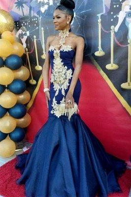 Robes de bal sexy sirène bleu marine | Robes de soirée appliques col haut SK0154_1