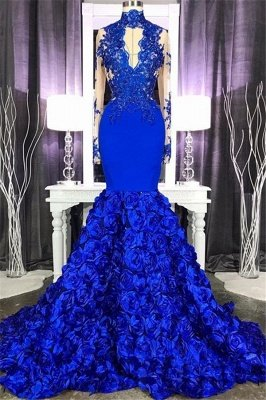 Elegant Long Sleeve Lace Appliques Prom Dress Cheap Online | Fit and Flare Royal Blue Floral Prom Dress with Keyhole